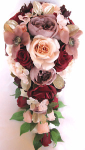 Reserved listing Bouquet package Bridal Silk Flowers BURGUNDY BLUSH PEACH MAUVE