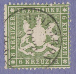 Wurttemberg #21 used 6kr medium paper 1860 pf 13½ cv $100