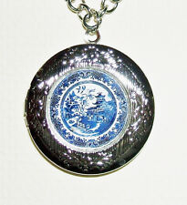 BLUE WILLOW Plate Locket Necklace Pendant Art Jewelry