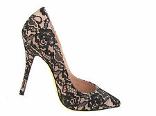 NEW DESIGNER LERRE SATIN/LACE TWO TONE POINTY TOE HIGH HEEL PUMPS SIZE 39.M-9.M