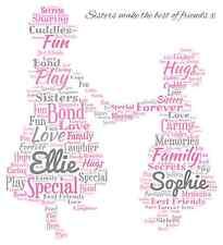 Personalised Sisters Word Art print