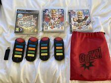 PS3 Playstation 3 Juegos Buzz quiz tv música prueba del mundo de juego incl zumbadores + Usb