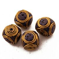 Lapis Brass 4 Beads Tibetan Nepalese Handmade Ethnic Tribal From Nepal UB57
