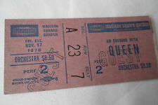 Queen Original 1978_Concert Ticket Stub_Jazz Tour_Madison Square Garden_Ex
