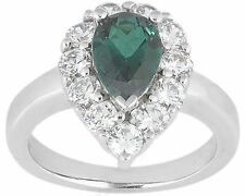 0.75 ct pear shape Emerald w/ round Diamonds Engagement Solitaire 14k Gold Ring