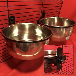 2 Rabbit Guinea Pig Cage CLAMP On Water Food Bowl Dish Coop Cup 15cm Travel Bowl