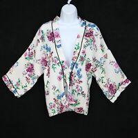 Liberty Love Top Blouse Womens Size S White Multicolor Floral Plunge Neckline
