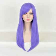 GINTAMA Sarutobi Ayame Straight Purple Long Anime Cosplay Wig +free wig cap