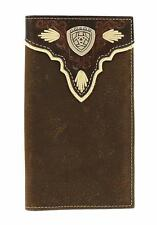 Ariat Western Mens Wallet Rodeo Leather Overlay Shield Concho Brown A3531444