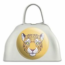 Gold Spotted Leopard Face White Metal Cowbell Cow Bell Instrument