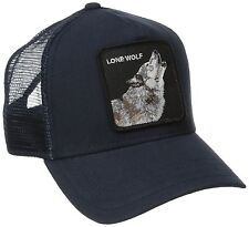 "Goorin Bros. Animal Farm Trucker Snapback Hat Cap NAVY/""Lone Wolf"""