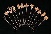 Set of 12 Vintage Silver Hors D'oeuvre Cocktail Picks Forks - Mexico