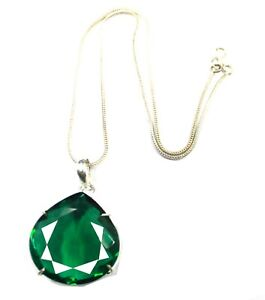 104.25 Ct Certified Pear Cut Green Moldavite Pendant 925 Sterling Silver MG1303