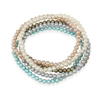 5-5.5mm Multi Color Freshwater Cultured Pearls Stretch Bracelets, Set of 5