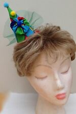 Blue,Red, Yellow, Green, Harlequin Pierrot Style Mini Clown Fascinator