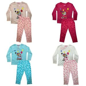 Girls Kids Pyjamas Long Sleeve Top Bottom Set Nightwear Jersey Cotton Cat Kitten