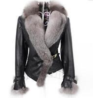 Women's Warm Big Fox Fur Coat Winter Outwear Leather Stylish Jacket Short Casual