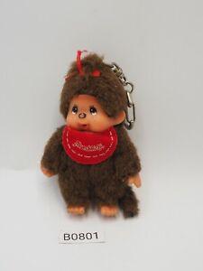 """Monchhichi Monkeys B0801 Sekiguchi Keychain Mascot 3.5"""" Plush Toy Doll Japan"""