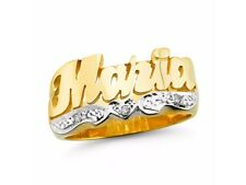 Personalized Diamond Name Ring - Unisex Script Style Shiny 10MM Sterling Silver