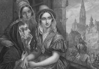 BELGIUM Antwerp Girls Watch Religious Procession Fete- SUPERB 1860 Antique Print