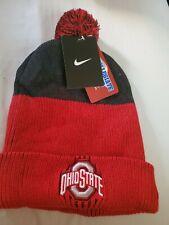 NIKE Ohio State Red & Black WINTER POM POM HAT NWT $32 MSRP 2 TONE