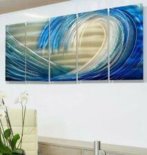 STUNNING BLUE WAVE Metal Sculpture wall Art Modern Silver Blue Decor  Jon Allen