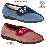 Ladies Womens Touch Fastening Fleece Lined Faux Suede Slippers Size 3 4 5 6 7 8