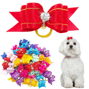 20pcs Dog Rhinestone Hair Bows Rubber Band Pet Bowknot Head Grooming Accessories