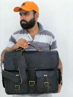 Mens Laptop Satchel Handbag S Black New Bag Real Leather Messenger Shoulder Men
