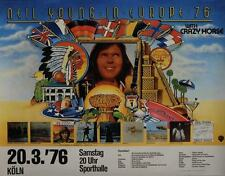 Neil Young 1976 German A1 concert poster Vintage Near Mint Rare