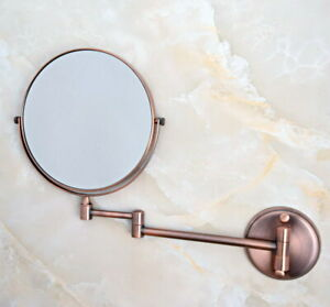 Antique Red Copper Bath Shaving Beauty Makeup Magnify Mirror Dual Side fba631