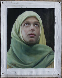 "Fine art original oil painting on canvas portrait of a muslim schoolgirl 16""x20"""