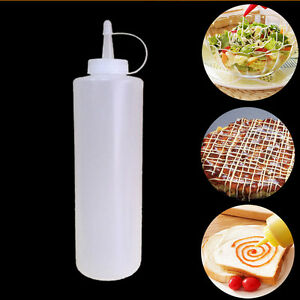 8-24oz Clear Plastic Squeeze Bottle Ketchup Mustard Sauce Condiment Dispenser US