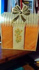 Ladies Handkerchiefs 3 x Boxed Peach Floral Embroidered on White 100% Cotton