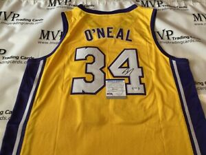Shaquille O'Neal Autograph Gold Los Angeles Lakers Jersey - PSA/DNA COA