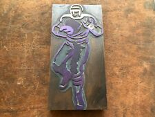 Large Antique Printers block mounted on wood FOOTBALL PLAYER running w football