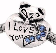 I Love You Heart Blue Rhinestone March Birthstone Fox Bead for Charm Bracelets