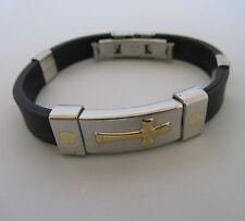 Titanium Steel Silicone Gold Cross Bracelet Health Bracelet