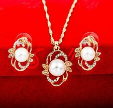Fashion Women Rhinestone pearl  Pendant Necklace Chain Earrings Jewelry Set