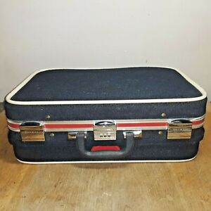 Vintage Skyway Brown Suitcase Stackable Hard Sided Luggage Medium Sized Retro Suit Case Bag Hipster Airplane Travel Overnight Bag Funky Case