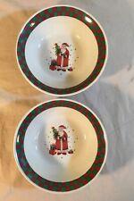 Christmas Santa Claus Present Tree Bowls Set of 2- Green Red Plaid Rim Stoneware
