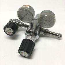 Concoa 3123331 Dual Stage Gas Regulator Chrome-Plated Brass 4-Port 100psi CGA590