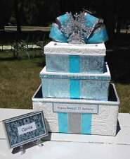 Quinceanera, Sweet 16,Card Box,Winter Wonderland,Paper,Blue,Fairy Tale,Fabric