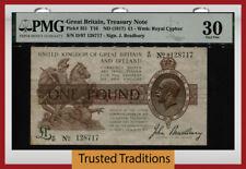 TT PK 351 ND (1917) GREAT BRITAIN TREASURY NOTE 1 POUND KING GEORGE V PMG 30 VF!