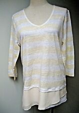 NC NICE CONNECTION linen striped top, blouse, sz EU38 , New with Tag