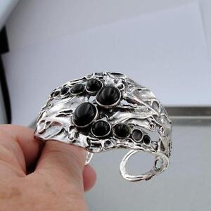 Hadar Designers Sterling Silver Black Onyx Cuff Bracelet Handmade Art (H 313b