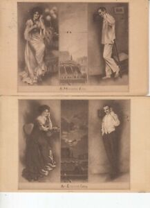 A MORNING CALL -  AN EVENING CALL - PAIR 1910 VINTAGE POSTCARD W/ NOTES