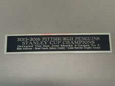 Pittsburgh Penguins 2015-16 Stanley Cup Nameplate Hockey Stick Case 1.25 X 6