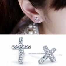 Best Cute  Full Rhinestone Crosses-shaped Delicate Ear Stud Earrings Jewelry VNC