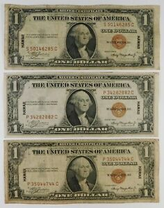 1935-A $1 Federal Reserve Hawaii Currency Banknotes - 3 Examples - Group #2